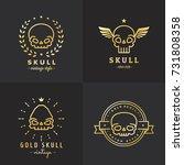 skulls outline gold logo vector ... | Shutterstock .eps vector #731808358