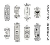 skateboards and longboards... | Shutterstock .eps vector #731808409
