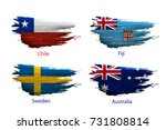 set smear paint of flag country ... | Shutterstock .eps vector #731808814