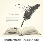 writing old feather with flying ... | Shutterstock .eps vector #731814430