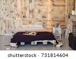 romantic bedroom in warm colors ...   Shutterstock . vector #731814604