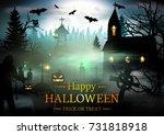 halloween background. | Shutterstock .eps vector #731818918