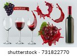red wine. glasses  bottle ... | Shutterstock .eps vector #731822770