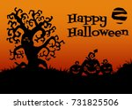 happy halloween card. tree ... | Shutterstock . vector #731825506