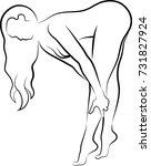 sketch of woman massaging her... | Shutterstock .eps vector #731827924