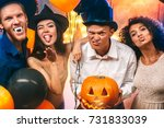 group of friends party together ... | Shutterstock . vector #731833039