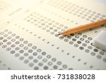 Small photo of The concept of this image is a device for taking the test by writing the correct answer in the correct answer paper.