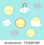 cute daytime clip art set with... | Shutterstock .eps vector #731839180
