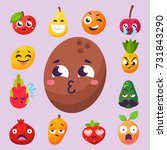 cartoon emotions fruit... | Shutterstock .eps vector #731843290