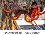 drying fishing nets on the... | Shutterstock . vector #731848804