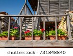the wooden staircase of the old ... | Shutterstock . vector #731848840