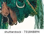 drying fishing nets on the... | Shutterstock . vector #731848894