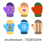 collection of color mittens... | Shutterstock .eps vector #731851054
