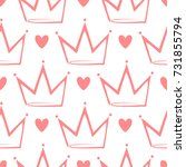 crowns and hearts drawn by hand.... | Shutterstock .eps vector #731855794