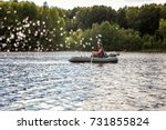 a fisherman is fishing in a row ...   Shutterstock . vector #731855824