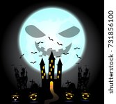 halloween pumpkins and dark... | Shutterstock .eps vector #731856100