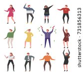 music and dancing people... | Shutterstock .eps vector #731856313