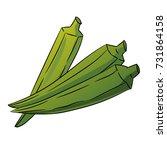 hand drawn sketch of green okra ...   Shutterstock .eps vector #731864158