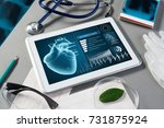 white tablet pc and doctor... | Shutterstock . vector #731875924
