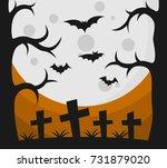 halloween background and... | Shutterstock .eps vector #731879020