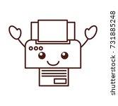 cartoon printer device paper...   Shutterstock .eps vector #731885248