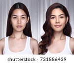Asian Woman Before After Make...