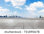 empty brick floor and cityscape ... | Shutterstock . vector #731890678