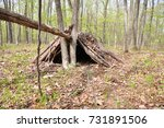 camping shelter built in nature. | Shutterstock . vector #731891506