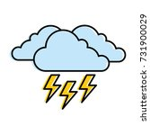 cloud weather with thunder | Shutterstock .eps vector #731900029