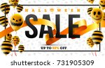 halloween sale concept with... | Shutterstock .eps vector #731905309