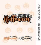 happy halloween text template | Shutterstock . vector #731905780