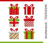 flat christmas gifts | Shutterstock .eps vector #731910244