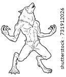 Cartoon Werewolf Howling Line...