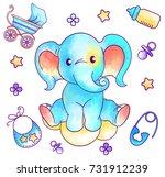 pastel watercolor toy elephant...   Shutterstock .eps vector #731912239