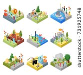 public zoo with wild animals... | Shutterstock .eps vector #731925748