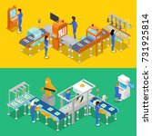 isometric 3d production line... | Shutterstock .eps vector #731925814