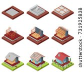 isometric 3d set construction... | Shutterstock .eps vector #731925838