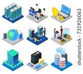 data centre isometric 3d set.... | Shutterstock .eps vector #731926063