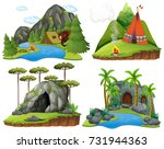 four scenes with bear at... | Shutterstock .eps vector #731944363