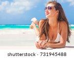 portrait of long haired girl in ... | Shutterstock . vector #731945488