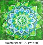 abstract green painted picture with circle pattern, mandala of anahata chakra - stock photo