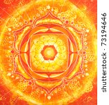 abstract orange painted picture with circle pattern, mandala of svadhisthana chakra - stock photo