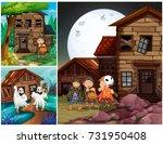 three scenes with kids in... | Shutterstock .eps vector #731950408