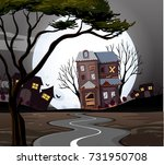 haunted house at the end of the ... | Shutterstock .eps vector #731950708