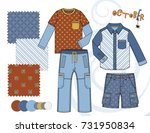 boys' fashion illustration with ... | Shutterstock .eps vector #731950834
