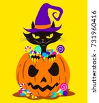 sinister cat inside an angry... | Shutterstock .eps vector #731960416