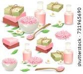 organic handmade soap packed in ... | Shutterstock .eps vector #731965690