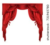heavy red curtains or drapes in ... | Shutterstock .eps vector #731965780