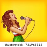 Expressive Singing Woman With...