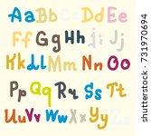 hand drawn alphabet. brush... | Shutterstock .eps vector #731970694